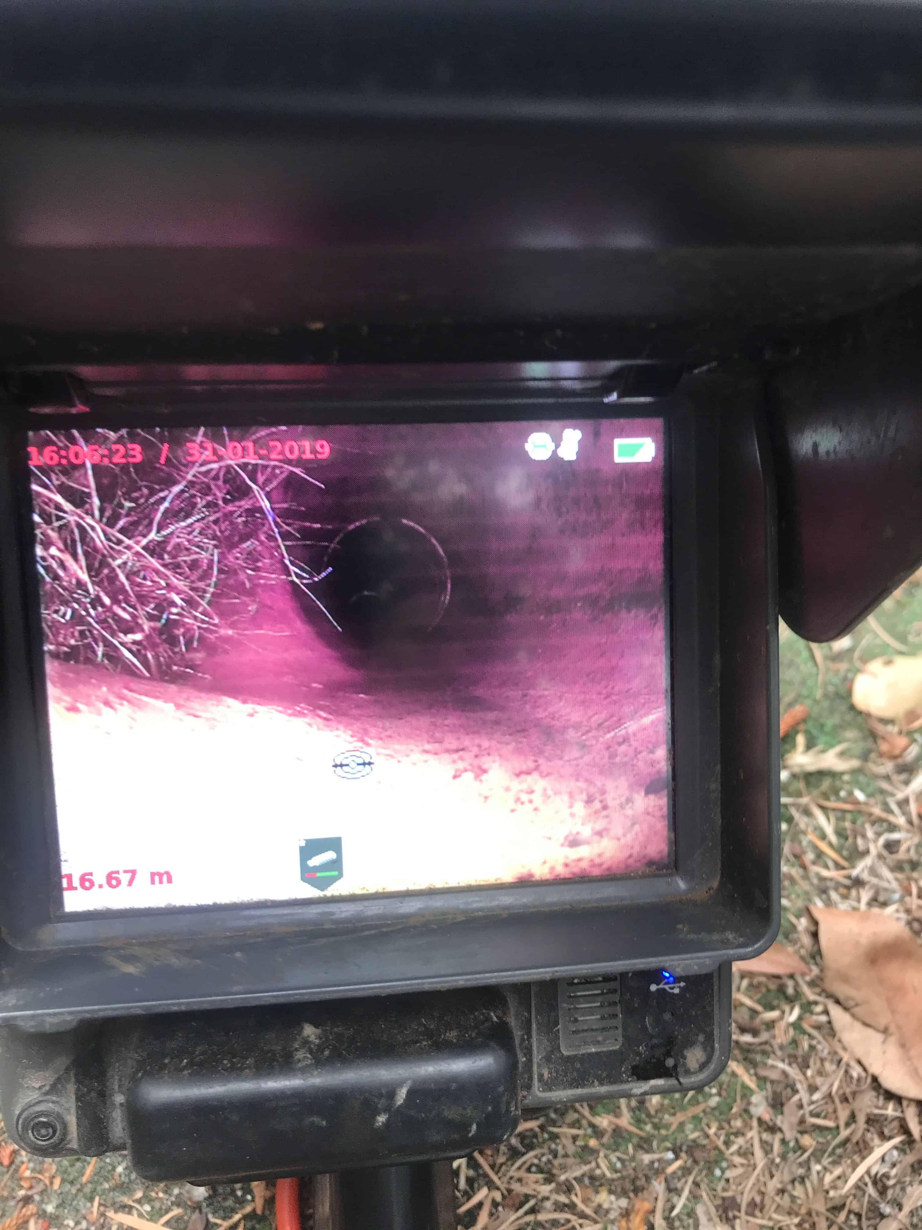 CCTV image of damaged underground pipe