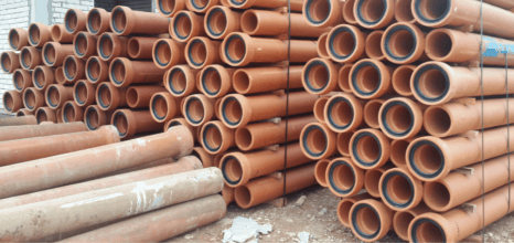 Stacks of clay pipes