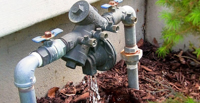 Backflow prevention pipes leaking