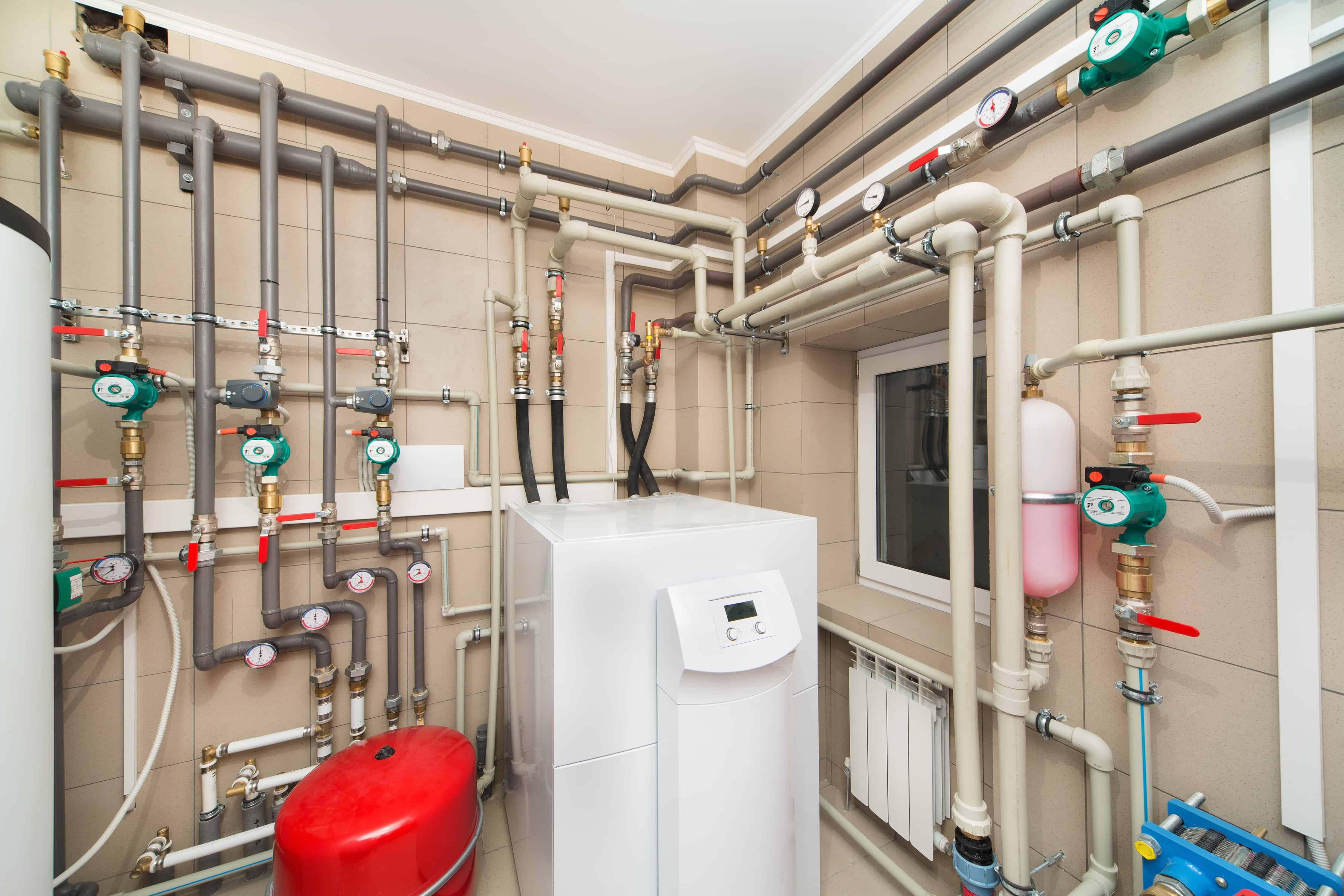 hot water system room in apartment building